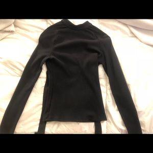 Astr Black Long-sleeve Open Back Blouse